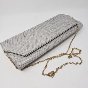 SALE Snakeskin grey clutch optional gold chain